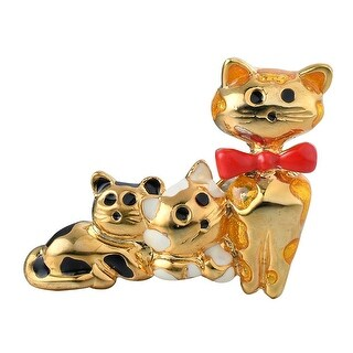 Cute Gold Tone Hand Painted Cat/Kitten w/ Red Bow