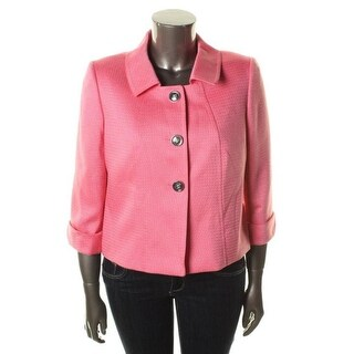 Tahari ASL Womens Darren Textured Cuffed Three-Button Blazer - 2