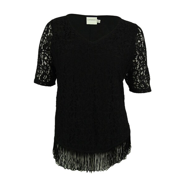 Junarose Women's Lace Front Fringe Hem Top - Black
