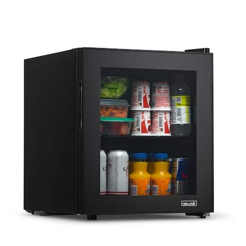 NewAir 60 Can Beverage Fridge with Glass Door, Small Freestanding Mini Fridge in Black, Perfect for Beer, Snacks or Soda