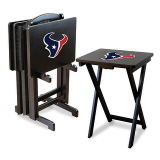 Official Licensed Houston Texans NFL Football TV Snack Trays with Storage Racks (Set of 4)