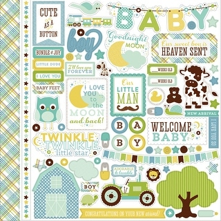 "Bundle Of Joy/A New Addition Cardstock Stickers 12""X12""-Baby Boy, Element"