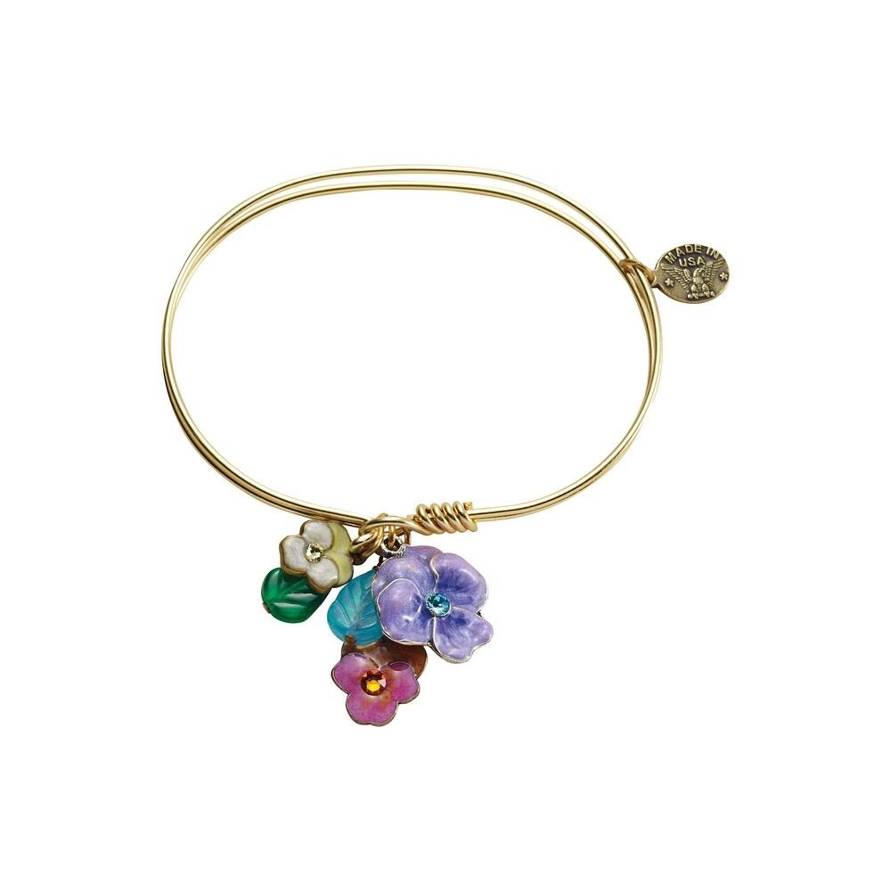 Anne Koplik Designs Bangle Charm Bracelets-Inspirational Jumble Charm Collection – Pansies