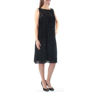 Womens Black Sleeveless Knee Length Casual Dress Size: 18