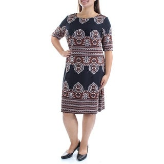 INC $90 Womens New 1434 Black Printed Short Sleeve Boat Neck Shift Dress 2 B+B