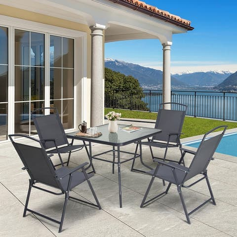 5 Piece Patio Dining Set with Umbrella Hole