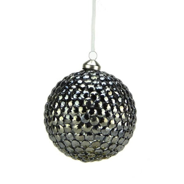 "5"" Winter Light Elegant Gun Metal Gray Rivet Gem Glass Christmas Ball Ornament"
