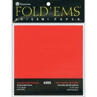 "Fold 'Ems Origami Paper 5.875"" 50/Pkg-20 Assorted Colors"