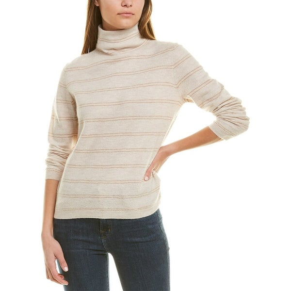 Vince Striped Fitted Cashmere Turtleneck. Opens flyout.