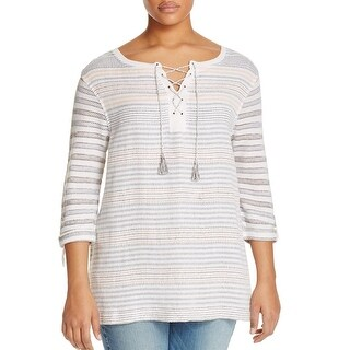 Nic+Zoe Womens Plus Pullover Sweater Striped Linen