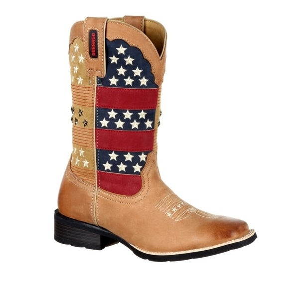 Durango Western Boots Womens Mustang Pull On Tan Patriotic