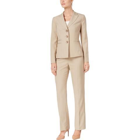 Le Suit Womens Petites Pant Suit Shadow Stripe Three Button