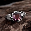 Vienna Jewelry Lavender Gem Stainless Steel Ring - Thumbnail 1