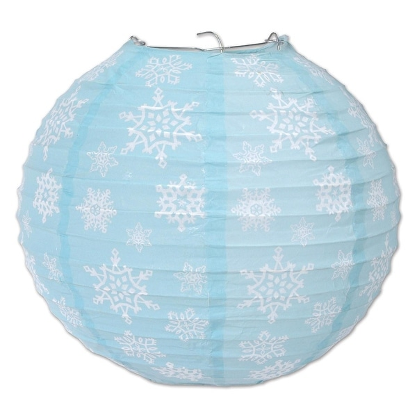 Pack of 18 Blue and White Snowflake Hanging Paper Lanterns 9.5""