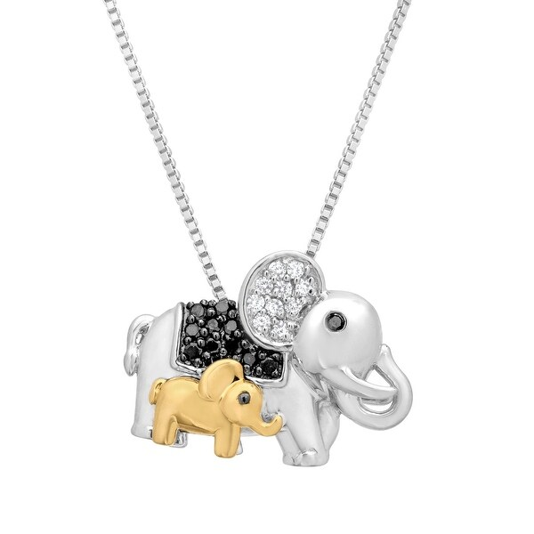 1/6 ct Black & White Diamond Elephant Pendant with in Sterling Silver & 14K Gold