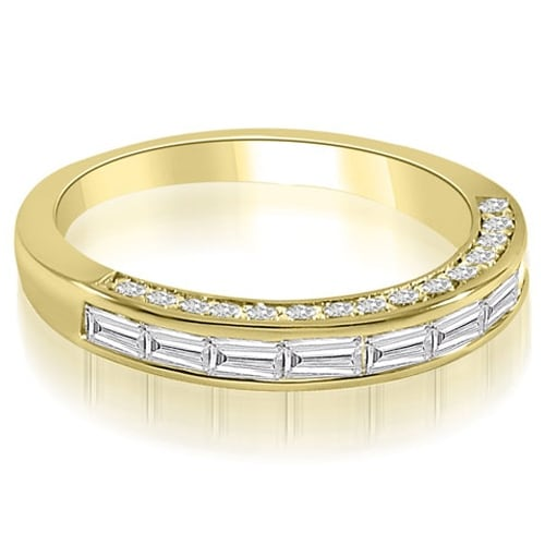 0.78 cttw. 14K Yellow Gold Channel Baguette and Round Cut Diamond Wedding Band