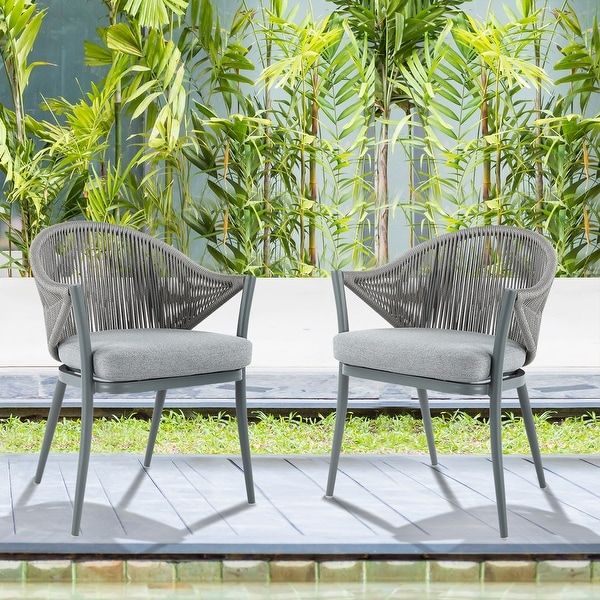 NUU GARDEN Aluminum Woven Rope Patio Dining Chair with Cushions (Set of 2). Opens flyout.