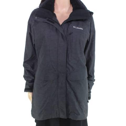 Columbia Women's Jacket Black Size Medium M Raincoat Hooded Full-Zip