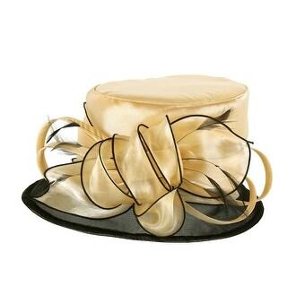ChicHeadwear Two-Tone Brim w/ Rose and Netting Organza Hat - Tan