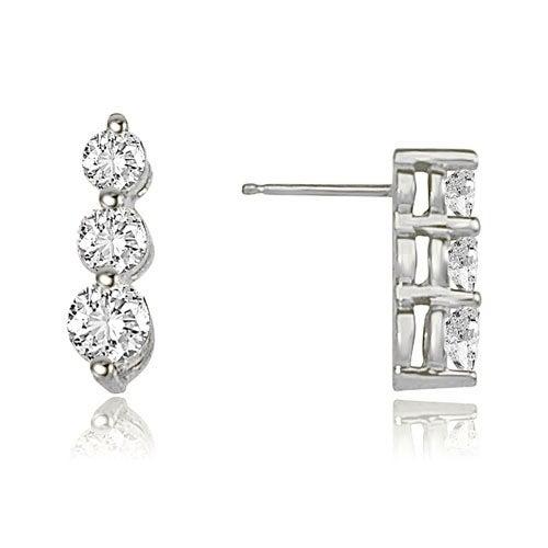 1.00 cttw. 14K White Gold Three-Stone Round Cut Diamond Earrings