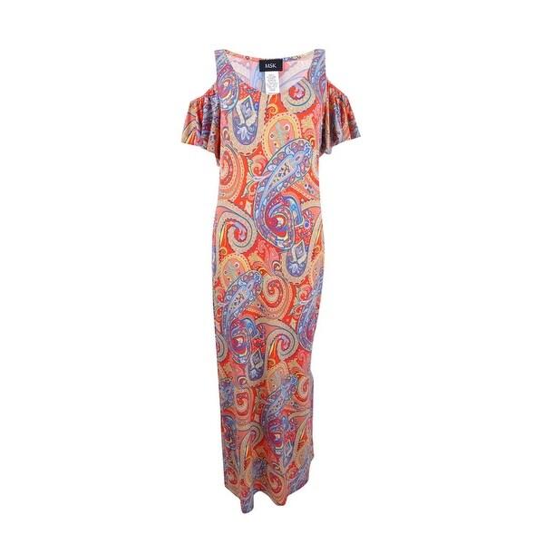 07dc413c134 Shop Msk Women s Cold-Shoulder Paisley Print Maxi Dress (M