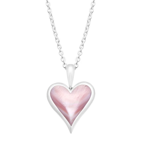 Kabana Natural Pink Mother-of-Pearl Heart Pendant in Sterling Silver