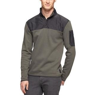 Calvin Klein Snap Front Mixed Media Fleece Sweater XX-Large Shadow Grey - 2XL