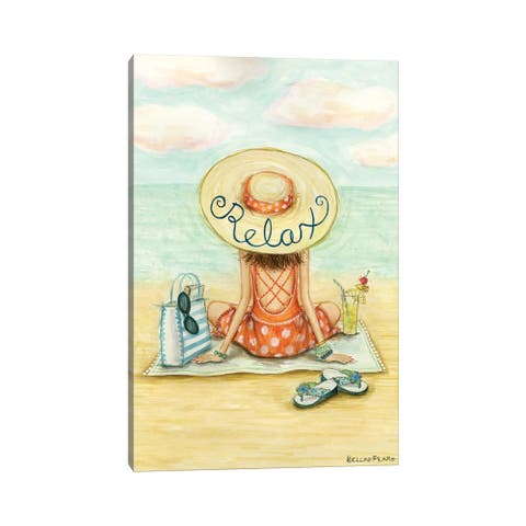 """iCanvas """"Relaxing On Beach Relax Hat"""" by Bella Pilar Canvas Print"""