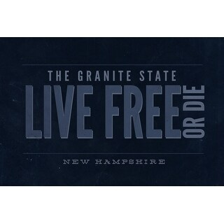 New Hampshire - Live Free or Die - The Granite State (Blue) (Playing Card Deck - 52 Card Poker Size with Jokers)