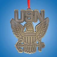 "Club Pack of 24 Patriotic U.S. Navy ""USN"" Eagle Christmas Ornaments 3.5"" - GOLD"