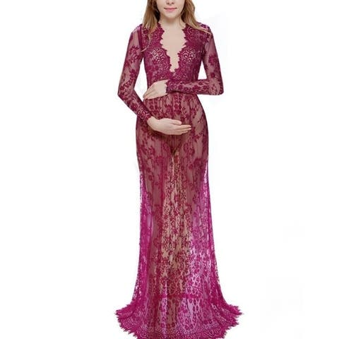 Sexy Deep V-Neck Long-Sleeved Lace Perspective Tight-Tailed Long Dress