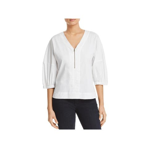 Donna Karan Womens Pullover Top 1/2 Zip V-Neck