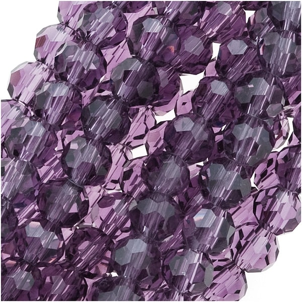 Amethyst Purple Glass Faceted Round Beads 4mm (14.5 Inch Strand)