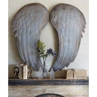"Set of 2 Distressed Graywash Angel Wings Assorted and Decorative Wall Decor 40"" - N/A"