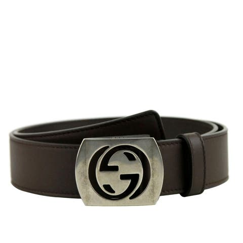 aedee353b Gucci Men's Cocoa Brown Leather Interlocking G Leather Belt 387031