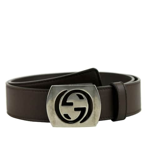 b32e54387 Gucci Men's Cocoa Brown Leather Interlocking G Leather Belt 387031