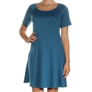 Womens Blue Short Sleeve Above The Knee Fit + Flare Dress Size: M
