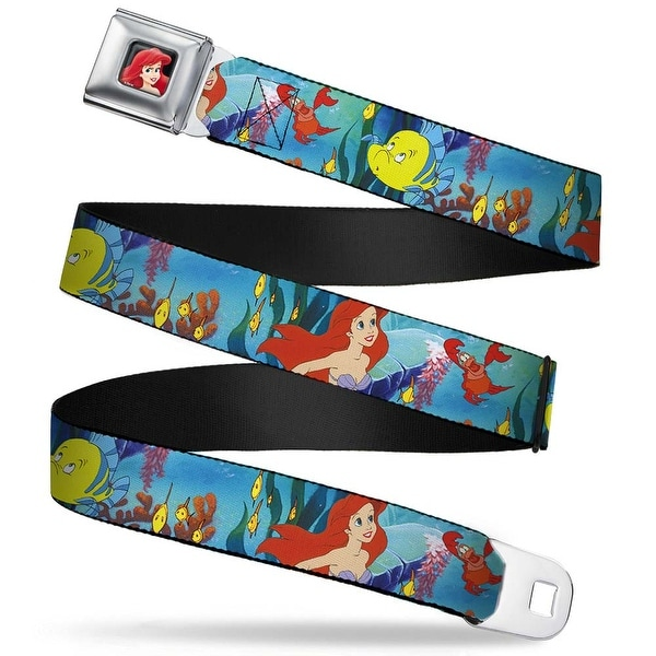 Ariel Close Up Full Color Ariel, Sebastian & Flounder Scene Webbing Seatbelt Belt