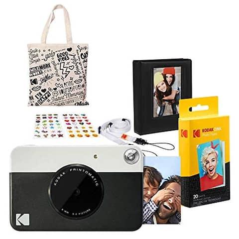 Kodak PRINTOMATIC Instant Print Camera (Black) Gift Bundle