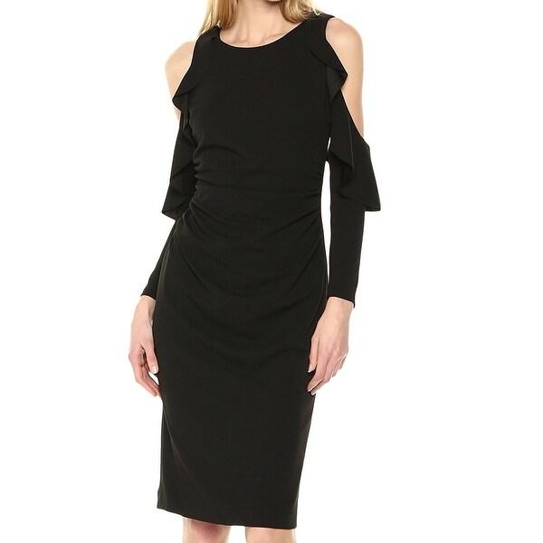 Maggy London Black Womens Size 4 Cold Shoulder Ruffle Sheath Dress