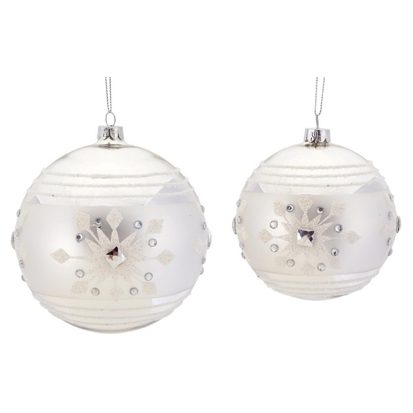 "6ct Silver and White Striped Christmas Ball Ornaments with Snowflake Design 5"" - 6"""