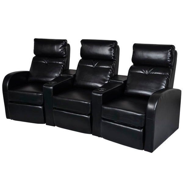 Cheap Recliner Sofas For Sale Black Leather Reclining: Shop VidaXL Artificial Leather Home Cinema Recliner 3-seat