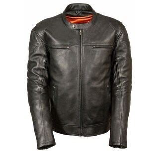 Mens Longer Body Vented Leather Scooter Jacket (More options available)