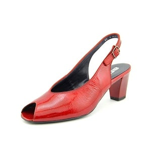 Ara Star Peep-Toe Patent Leather Slingback Heel