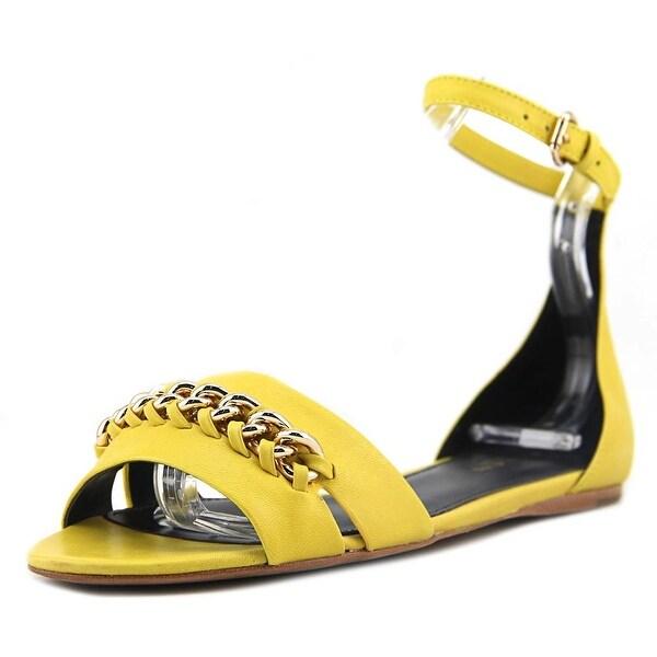 Coach Seabreeze Women Open-Toe Leather Yellow Slingback Sandal