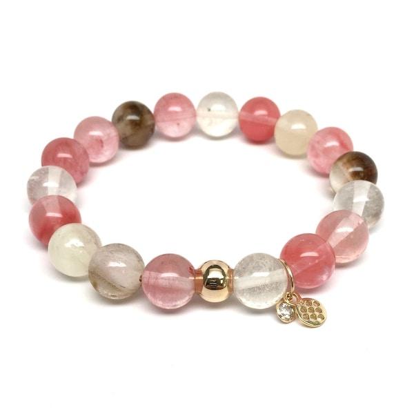 "Pink Cherry Quartz Emma 7"" Bracelet"