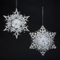 "Club Pack of 24 Seasons of Elegance Rococo Snowflake Christmas Ornaments 4.5"" - silver"