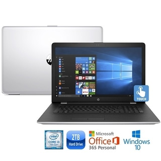 "HP 17-bs011cy Core i3-7100 2TB HDD 17.3"" HD+ Touch Screen MS Office 365 Laptop - Silver"