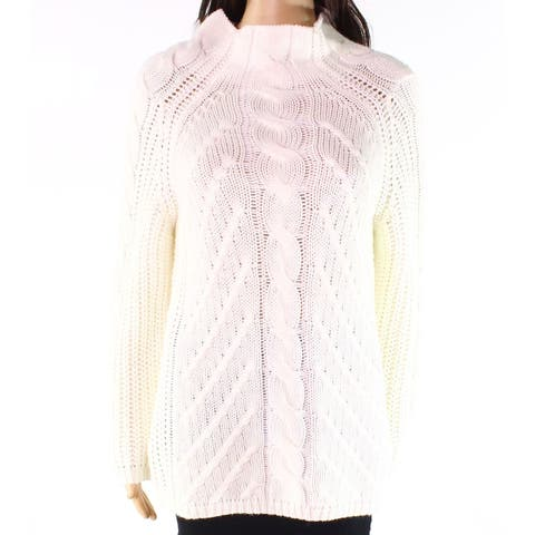 Promesa White Ivory Womens Size L Mock Neck Cable-Knit Sweater