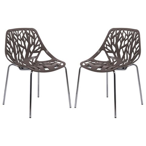 LeisureMod Asbury Open Back Chrome Dining Side Chair set of 2